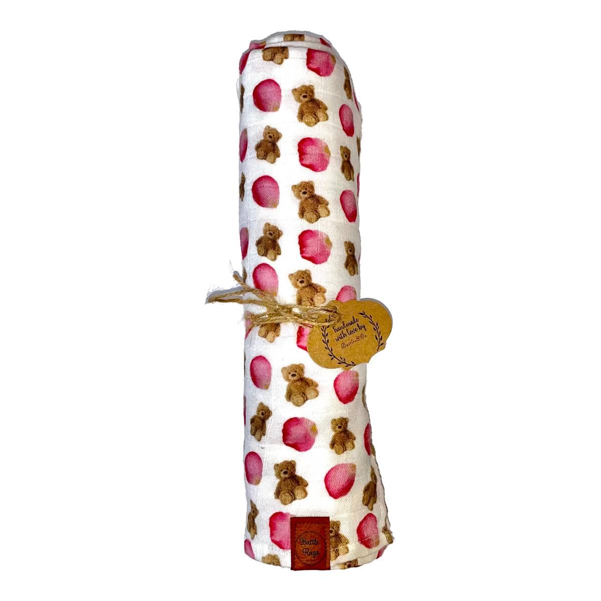 Petals & Teddy Bears Swaddle Blanket